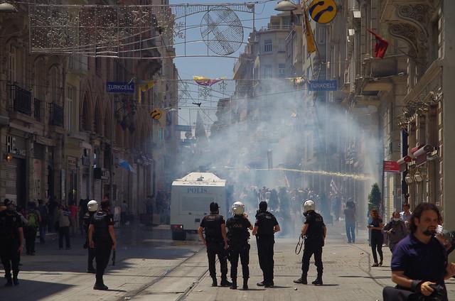 Water Cannon & Tear Gas used on İstiklâl Caddesi near Taksim Square - Gezi Park, İstanbul
