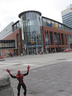 Spider-Man outside the MTS Centre