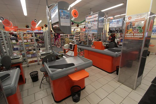 Cash registers in a Russian supermarket
