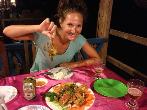 Lina eating what Kep is famous for… Crab marinated in a delicious Kampot pepper sauce