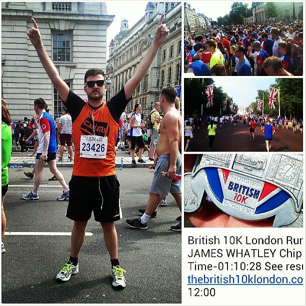 Today I ran @TheBritish10k. It's the first time *in my life* that I'd ran that far (and it was awesome). Some of you will know that I only started running in January of this year. I don't know where it came from, but it's something I'm sticking with. I've