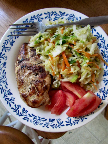 Chicken with Coleslaw and Tomatoes