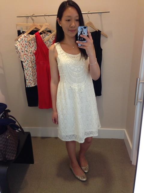 LOFT Crochet Bib Sleeveless Lace Dress, sz 0P
