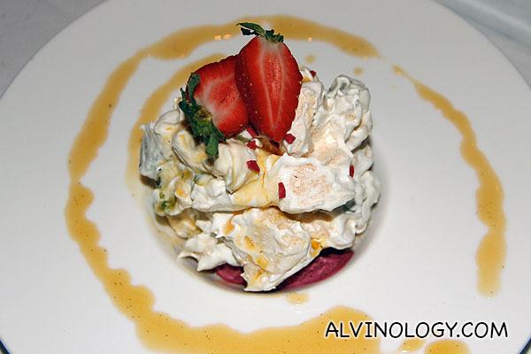 Kiwi Eton Pavlova (S$14) - crushed pavlova and raspberry snow with passion fruit, kiwi, chantilly cream and doris plum ice cream