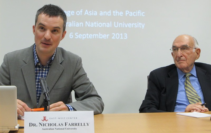 Burma/Myanmar expert Dr. David Steinberg of Georgetown University (right) served as discussant and guest-host for Dr. Nich Farrelly's (left) presentation at the East-West Center in Washington on what the new capitol of Naypyitaw means for Myanmar.