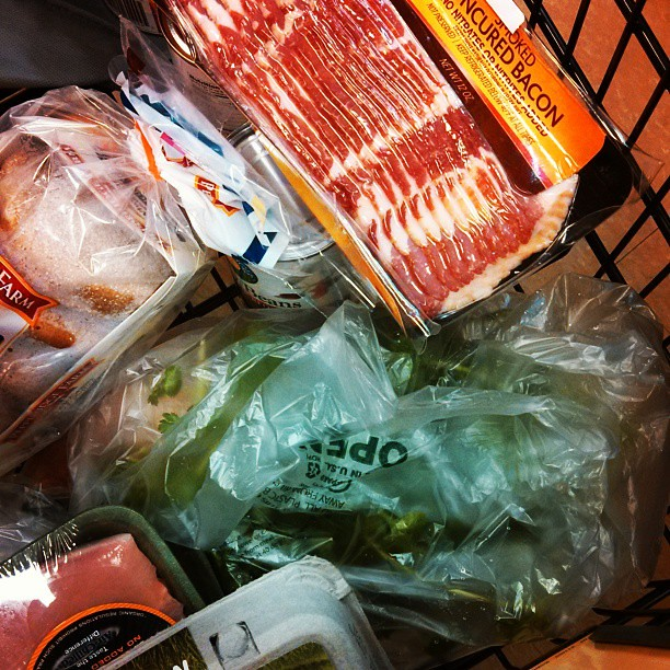 Grocery shopping for the week, dinner for husband in progress.