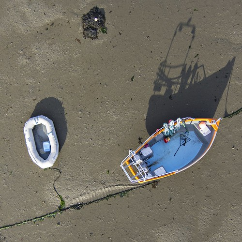 shadow beach silhouette boat aerial guernsey