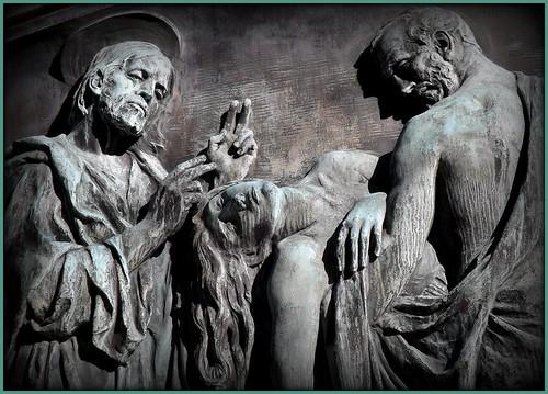 Detail: Three Figures, Ernest W. Haass Memorial, Woodlawn Cemetery--Detroit MI