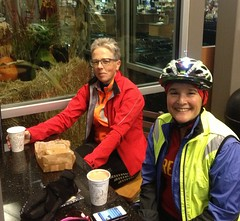 Lynne and Lesli, coffeeneuring before randonneuring