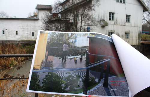 Konstnärens verk i ett fotomontage som visar plats och proportioner.