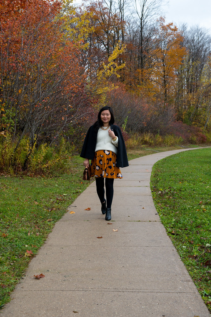 phillip lim for target animal print skirt, rwco poncho jacket, zara knit sweater, zara transparent purse