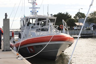 Coast Guard Station Tybee Island Ga.'s new 45-foot Response Boat-Medium sits at the station's pier Tuesday, Nov. 5, 2013. Coast Guardsmen from Sector Charleston, S.C., along with members of the Coast Guard Auxiliary, the mayor of Savannah, Ga., the pro tempore mayor of Tybee and representatives from local agencies, attended a ceremony recognizing the arrival of the new boat to the unit. U.S. Coast Guard photo by Petty Officer 3rd Class Anthony L. Soto
