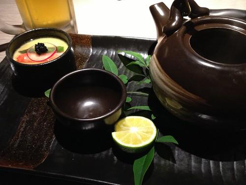 高級フカヒレと江戸前穴子の土瓶蒸し&egg-tofuのクリーミー仕立て@水想