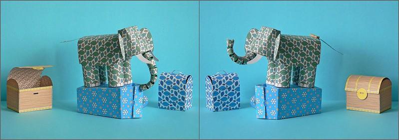 Elefant und Boxen im neuen Design
