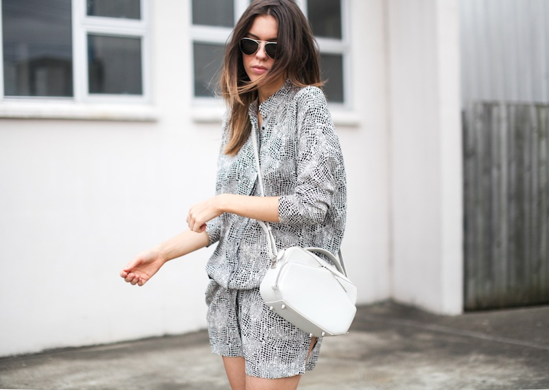 modern legacy fashion style blogger australia outfit street style willow print shirt dress white birkenstocks alexander wang rafael bag monochrome bare legs (7 of 9)