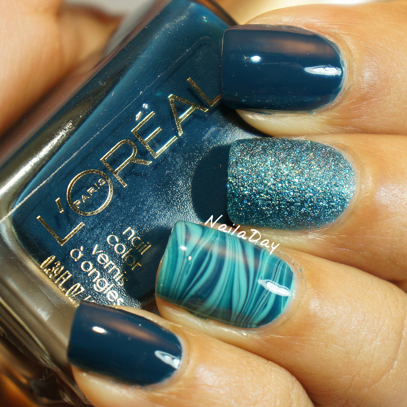 NailaDay: L'Oreal Rainy Piccadilly watermarble skittlette
