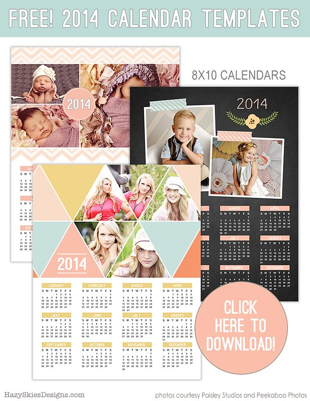 FREE 2014 Calendar Templates for Photographers www.hazyskiesdesigns.com