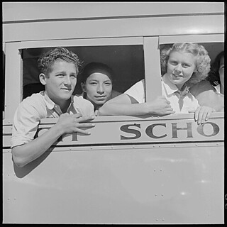 Salinas Valley, Monterey County, California. School Bus, 05/02/1940