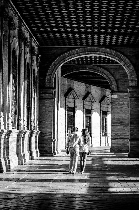 The romantic arcade at Sevilla's Plaza de Espana.