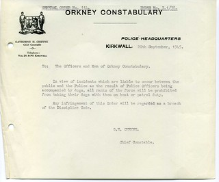 Orkney Constabulary Chief Constable's Instruction 1945