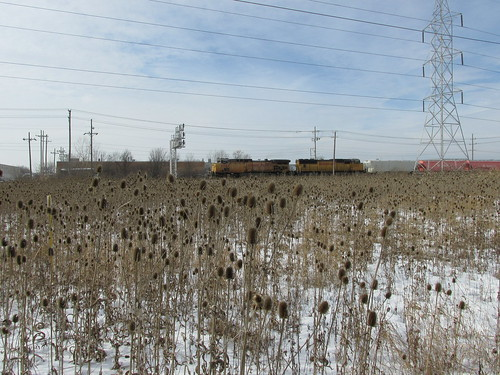 A southbound Union Pacific freight train traveling over the Indiana Harbor Belt Railroad.  Bridgeview Illinois.  January 2014. by Eddie from Chicago