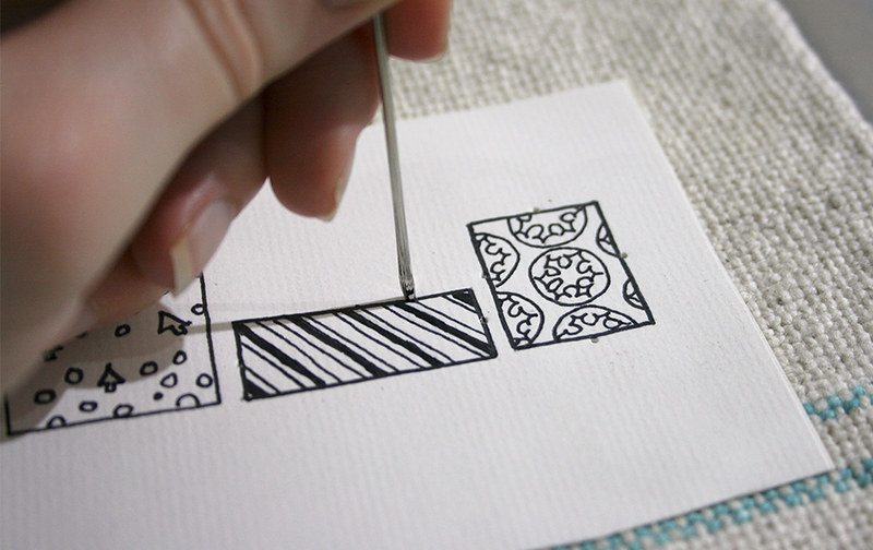 Christmas cards - Poking holes into the card