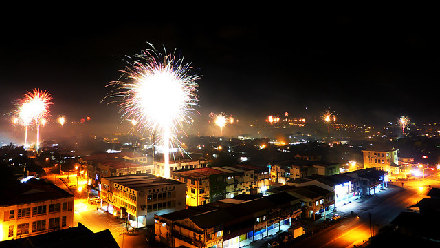 Kuching Fireworks CNY Eve from Balcony