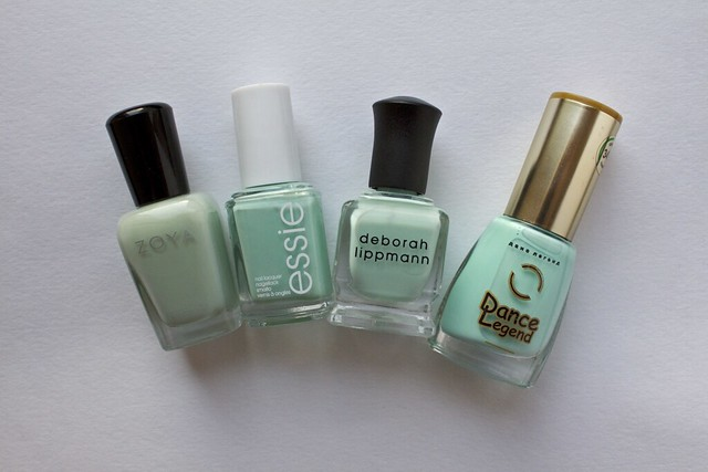 13 Deborah Lippmann Flowers In Her Hair comparison Zoya Neely, Essie Mint Candy Apple, Dance Legend 345