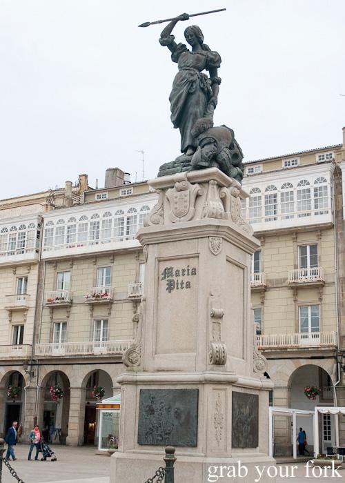 Maria Pita statue in Maria Pita Square, A Coruna, Galicia, Spain