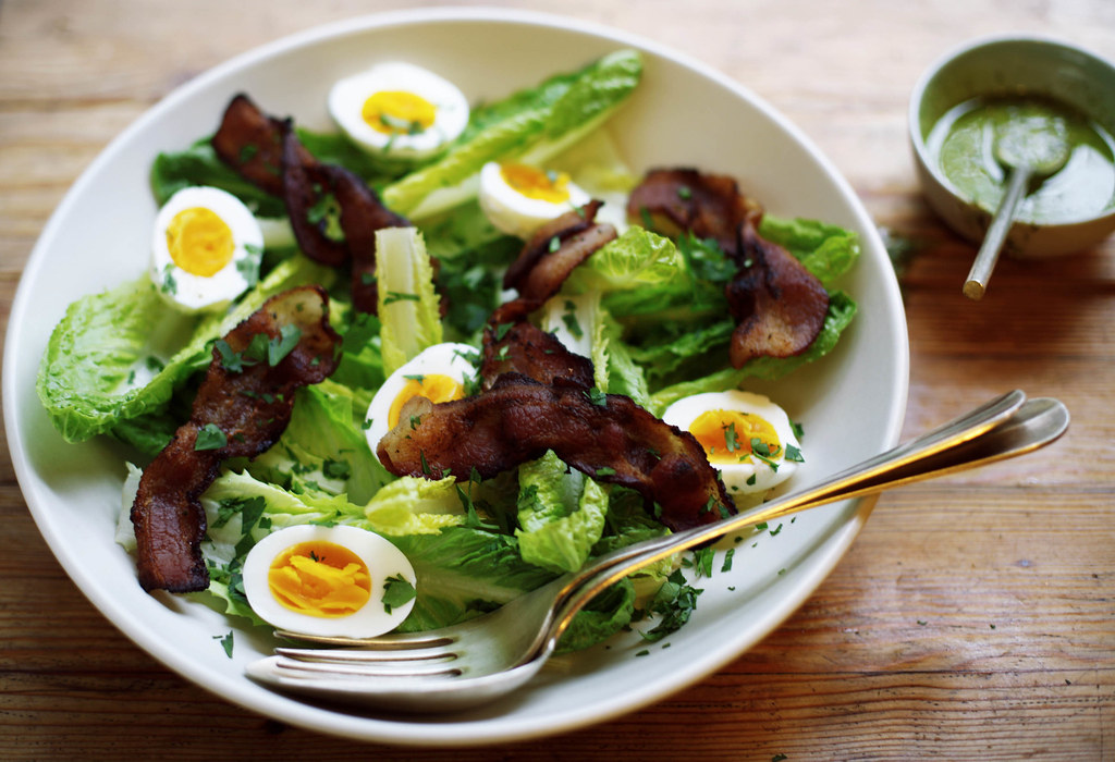 Romaine Salad with Bacon, Eggs, and Pesto Recipe