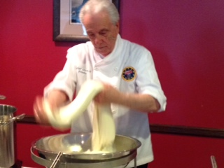 Folding and stretching in the process of making mozzarella