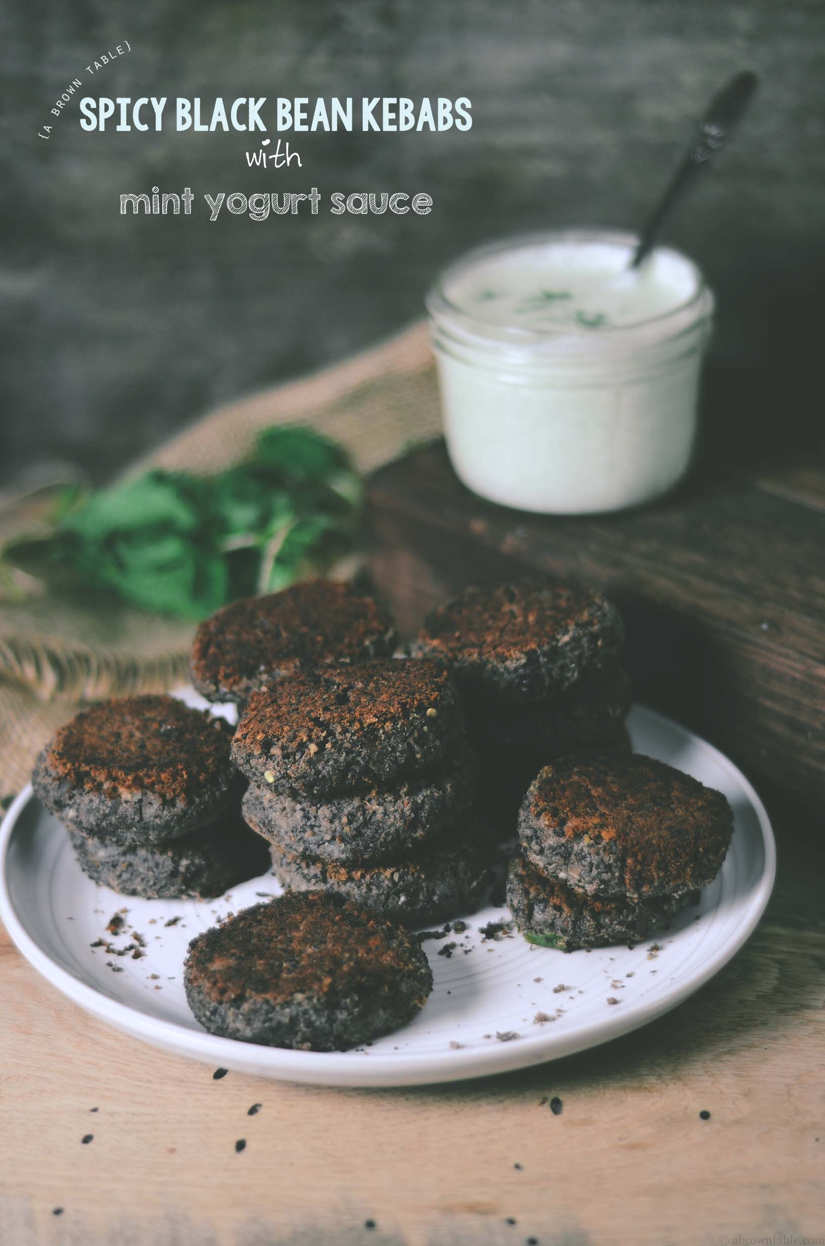 spicy black bean kebabs with mint yogurt sauce