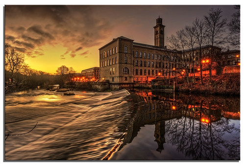 reflection mill water river landscape yorkshire ngc nikkor aire saltaire salts 2014 d600 spectacularsunsetsandsunrises nikonfxshowcase