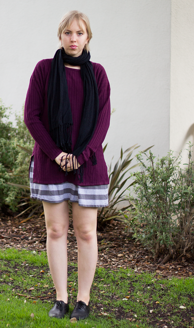 black pashmina scarf, plum slouchy sweater, grey striped dress
