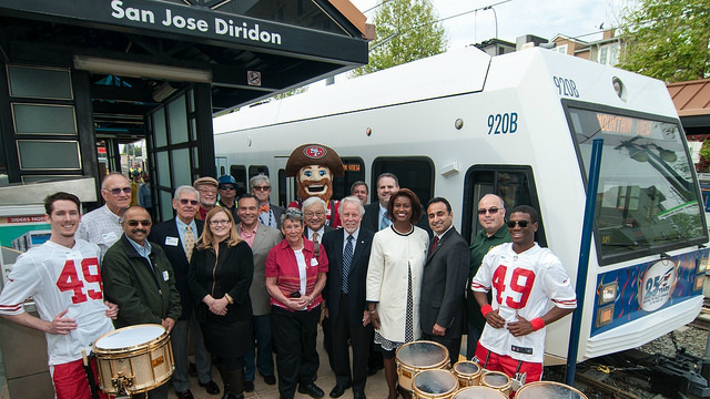 VTA officials at 25 year light rail anniversary event