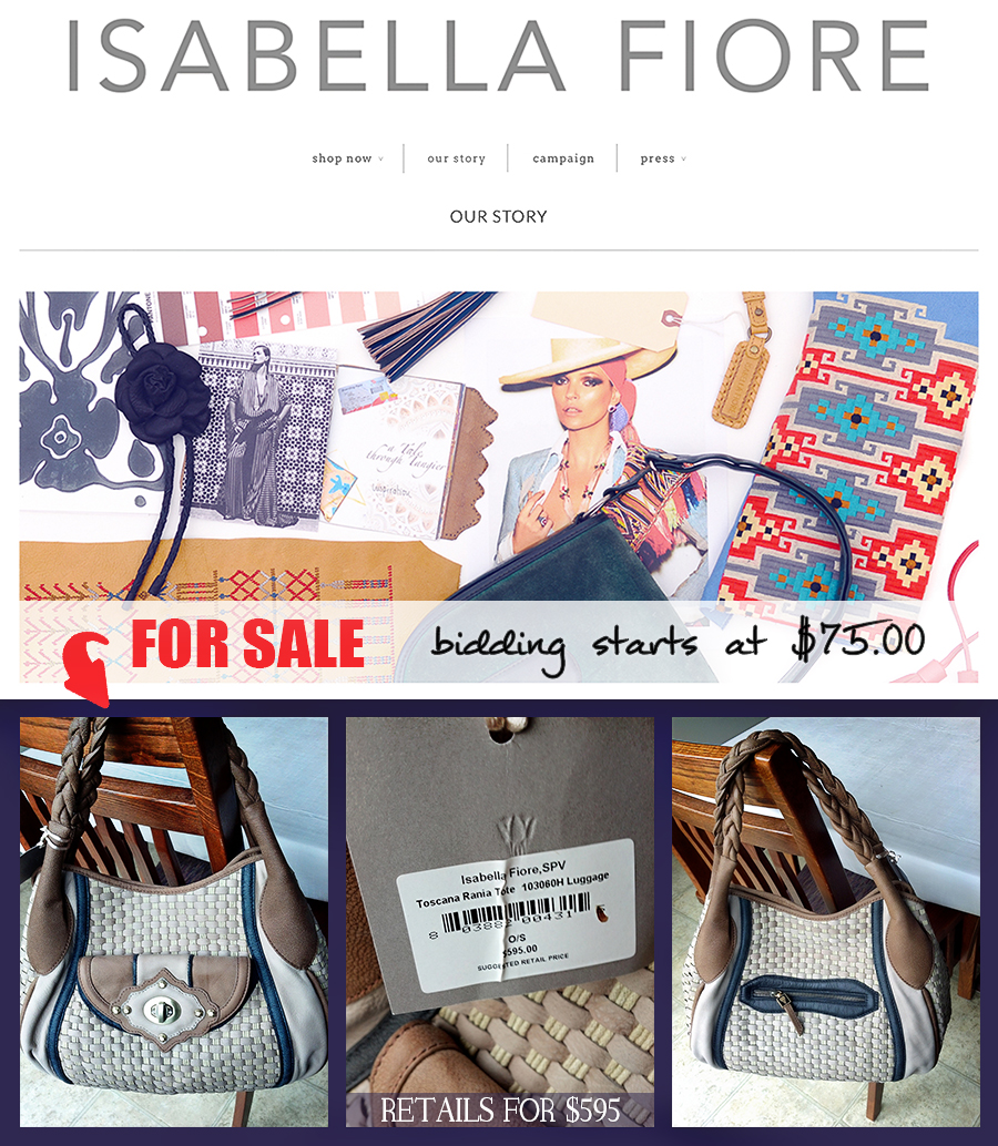 Isabella Fiore Handbag for sale on ebay via Cropped Stories