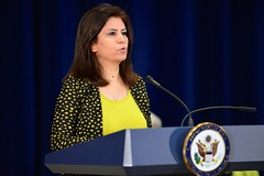 Ms. Ameena Hasan of Iraq, who is honored as a 2015 Trafficking in Persons Report Hero, delivers remarks about her work and the situation that now exists in Iraq, during the 2015 Trafficking in Persons Report Ceremony at the U.S. Department of State in Washington, D.C., on July 27, 2015. Ms. Hasan is recognized as a 2015 TIP Hero for her courageous efforts on behalf of the Yezidi religious minority in northern Iraq, for insisting that the world give heed to the horrors that they face, and for her firm commitment to helping the victims and saving lives. [State Department photo/ Public Domain]