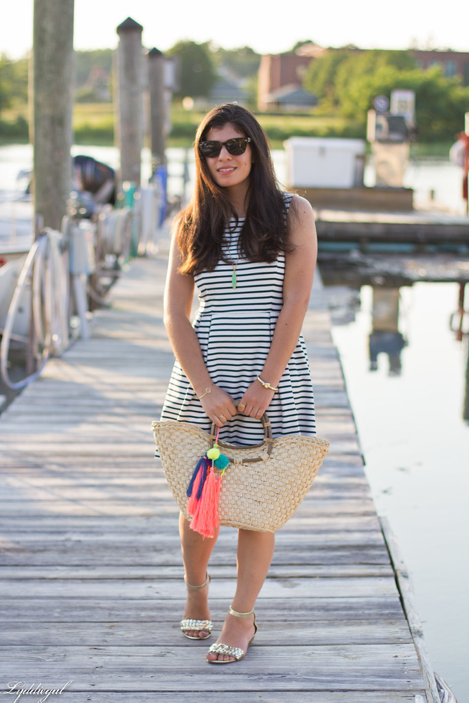 striped dress, straw tote with pom poms, gold sandals-1.jpg