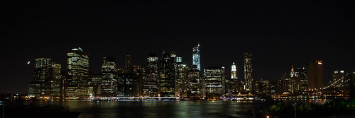 Crescent moon over the Manhattan skyline