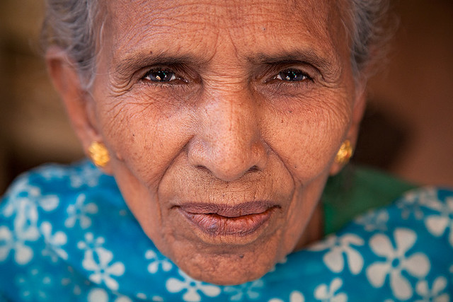 Portrait of an old lady with wrinkles in Kolkata, India.