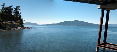 A panorama shot from under the walkway to the ferry