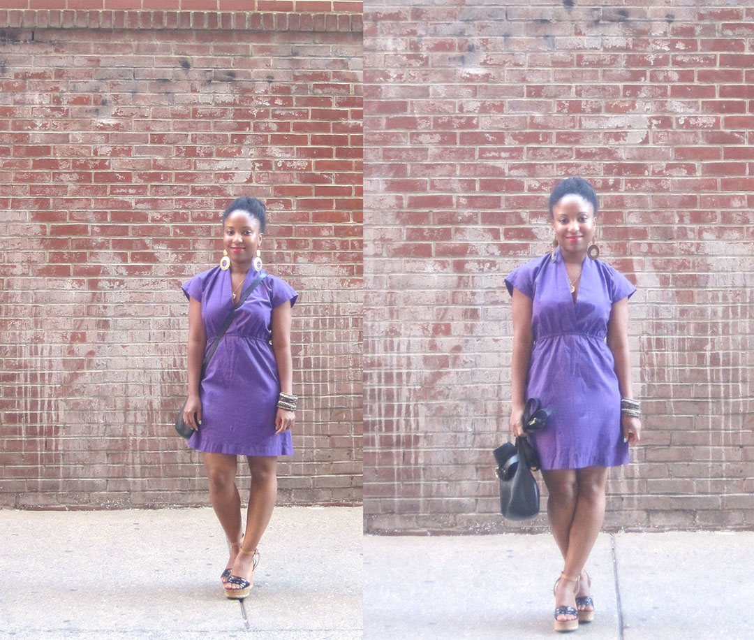 Purple  Dress and Black Bag 3