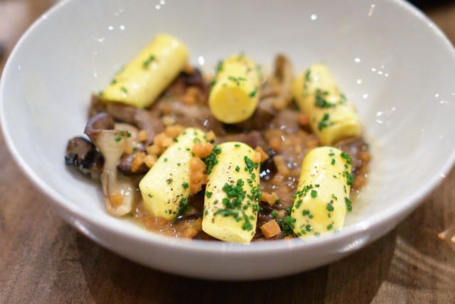 egg yolk gnocchi, mushroom brown butter, hen of the woods