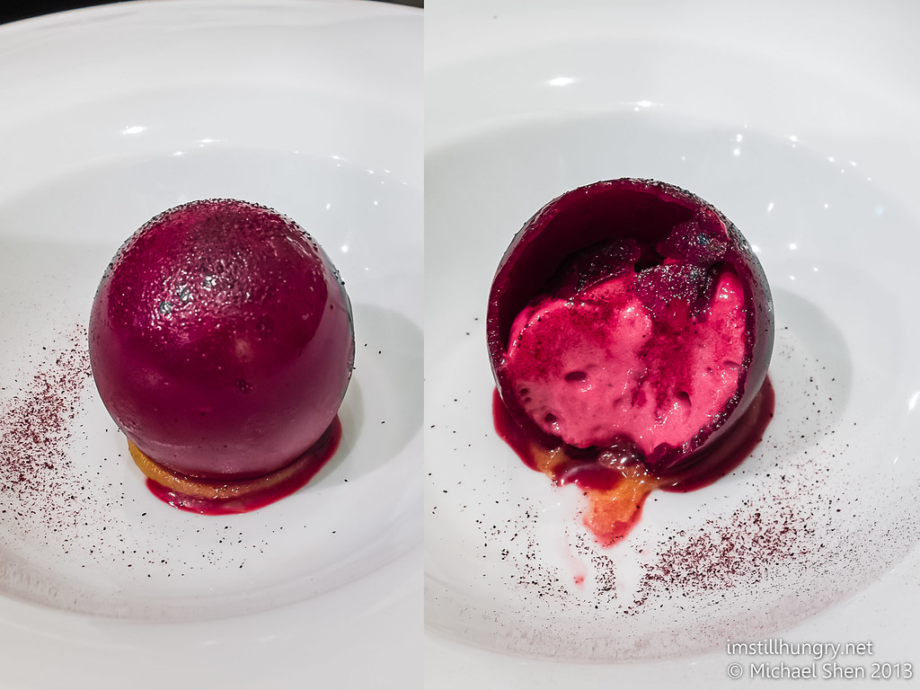 Pre-dessert: blackcurrant shell & cherry sorbet Sepia