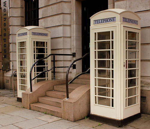 WHITE CLASSIC PHONE BOXES OF THE HULL TELEPHONE COMPANY HULL TOWN CENTRE EAST YORKSHIRE SEP 2013