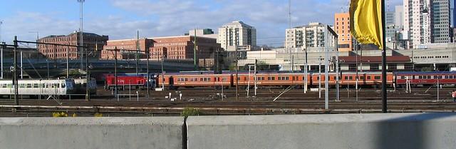 Trains outside Spencer Street, 2003