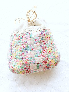 patchwork drawstring yarn pouch