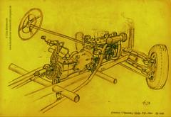 Mercedes-Benz, Chassis, Typ 170V, Baujahr 1935, Bleistift auf Papier, 1981, Skizze