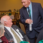 hmc035 -- Elmer Dickson '53 (right) and Harlan Bane '53 reminisce before the Golden Titan Club dinner.
