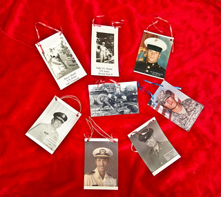Some of the Veterans photos appearing on the tree.
